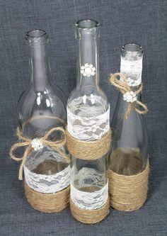 SET(3) Decorated Wine Bottle Centerpiece. Rustic Chic Ivory, Silver, Jute Twine. Jute Wrapped Bottles. Rustic Wedding Centerpiece Idea. by lindsay0 #diyrusticweddingwinebottles