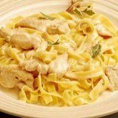 pasta met kip en champignons in roomsaus