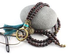 Gemstone Eyeglass Holder, Eyeglass Necklace, Eyeglass Loop, Eyeglass Lanyard, Eyeglass Chain, Turquoise Pendant, Glasses Chain, Mala Beads