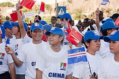 Citizens of China to celebrate the independence of Cape Verde. The 35 th anniversary of Independence of Cape Verde, 5 July 2010 in Cape Verde, Praia.