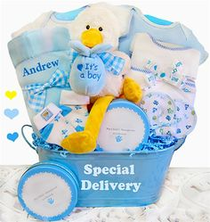 6d6ccb400794 This adorable gift basket is filled with super sweet items to welcome the  new arrival. A personalized satin lined baby blanket