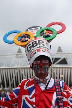 A British fan shows off his colours during the London 2012 Olympic Games Opening Ceremony at the Olympic Stadium on July 27, 2012 in London, England.