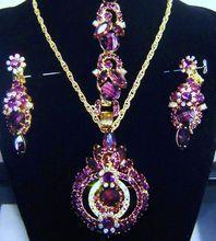 Vintage Juliana D Purple Givre Art Glass AB Rhinestone Pendant / Brooch Necklace Bracelet Earring Mint Tags $485.00