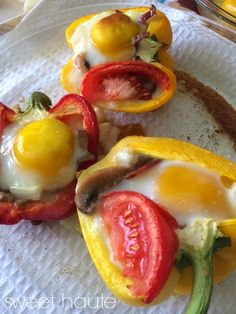 Right out of the oven! Stuffed Bell Pepper Boats: Whole30 healthy compliant Recipe by SWEET HAUTE contains sweet potatoes, eggs, organic bacon, bell peppers pin now, read later!