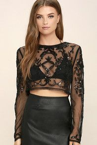 Sexy Black Top - Sheer Crop Top - Beaded Crop Top - Sequin Crop Top - $54.00