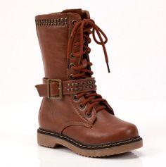 Girls Brown Studded Boot