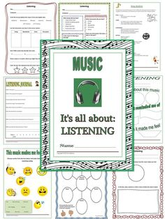MUSIC LISTENING: 18 pages of activities/worksheets!  Listening logs for every level    #musedchat    #musiceducation