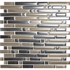 EPOCH Architectural Surfaces Brushstrokes Multicolor Gray Linear Mosaic Glass Wall Tile (Common: 12-in x 12-in; Actual: 11.75-in x 11.87-in)