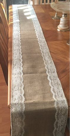 Burlap & Trim Lace Table Runner with a Variety of Lace Color Options. Great for Weddings and Other Special Events. Rustic and Chic - Burlap & Trim Lace Table Runner with a Variety of Lace Color - Burlap Lace Table Runner, Table Runner And Placemats, Table Runner Pattern, Deco Table Noel, Rustic Shabby Chic, Shabby Vintage, Burlap Crafts, Rustic Wedding Centerpieces, Rustic Table