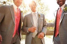 Groom in Grey Tuxedo with Silver, Groomsmen in Grey with Coral