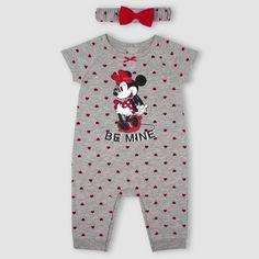 7c43952075e2 Baby Girls  Minnie Mouse 2pc Romper with Headband Set - Gray Newborn