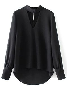 High Low Choker Blouse - BLACK M