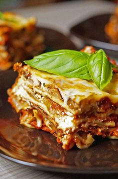 This roasted veggie lasagna has 4 servings of vegetables in each slice!