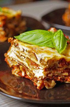 This roasted veggie lasagna has 4 servings of vegetables in each slice!