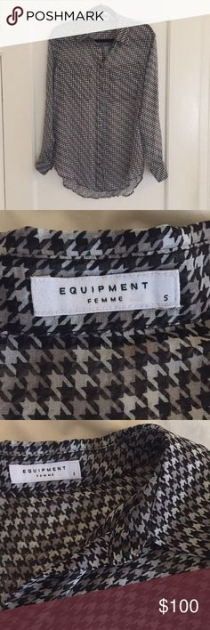 Equipment Femme black multicolor blouse Never been worn, sheer, button up Equipment Tops Blouses