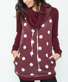 This Burgundy & White Polka Dot Cowl Neck Sweater is perfect! #zulilyfinds