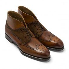 Cognac Leather & Suede Wingtip Boot