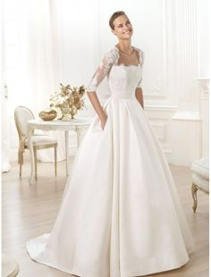 Satin Strapless Neckline Wedding Dress With A Line Skirt Ps0029 Bridal Gowns Rainingblossoms