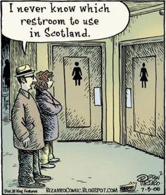 DAN PIRARO - I never know which restroom to use in Scotland Grumpy Cat Humor, Funny Cat Memes, Funny Cartoons, Memes Humor, Funny Gifs, Funny Sarcasm, Humor Viejo, Professor Ingles, Old Navy