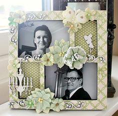 A decorated frame **Petaloo** - Scrapbook.com (created by Willea)Wendy Schultz onto Canvas Art / Framed Art.