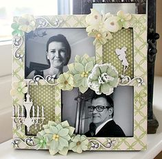 A decorated frame **Petaloo** - Scrapbook.com (created by Willea)Wendy Schultz onto Canvas Art / Framed Art.
