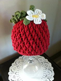 Crochet Pattern for Berrylicious Strawberry Beanie Hat - 6 sizes, baby to adult - Welcome to sell finished items on Etsy, $4.95