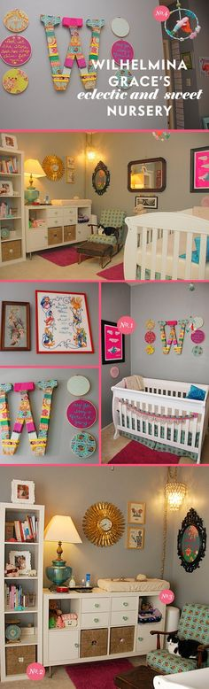 eclectic nursery, expedit turned dresser in the last pic