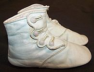 Pair of Victorian era antique blue leather high button baby shoes dates from 1900