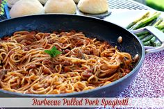 Mommy's Kitchen - Home Cooking & Family Friendly Recipes: Barbecue Pulled Pork Spaghetti using Bush's New Brown Sugar Hickory Baked Beans @bushsbeans #DoneThis #barbecue #skilletmeal