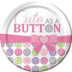 Cute As A Button Girl Dinner Plates 8pk