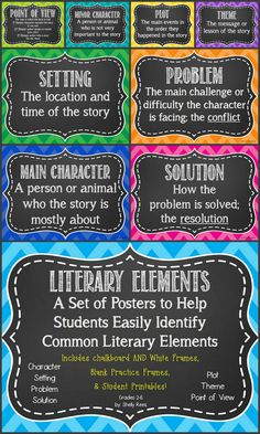 Literary Elements Poster Set - Fun Chevron Colors with Choice of Chalkboard or White Background!  Includes Main Character, Setting, Problem,  Solution, Plot, Point of View, Minor Character, Theme.  Also includes a fun foldable and a worksheet for novel or story studies!  Perfect for grades 2-6!