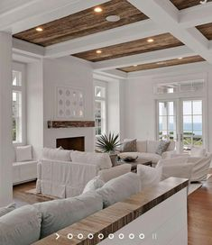 87 opposite home decor living room wall 2019 tiny house desi House Design, Home, High Ceiling Living Room, Beach House Interior, House Interior, Coastal Living Rooms, White Beams, Living Decor, Home And Living