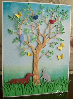Furry Friends by kiagc - Cards and Paper Crafts at Splitcoaststampers Cat Cards, Bird Cards, Butterfly Cards, Flower Cards, Homemade Greeting Cards, Making Greeting Cards, Homemade Cards, Memory Box Cards, Memory Box Dies