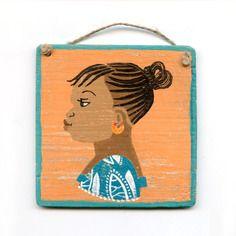 www.cewax.fr aime Tableau peinture ethnique Peinture enseigne de coiffeur africain (bleu-vert et orange) n°1
