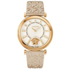 Versace Nude Womens V-Helix Watch (26,550 MXN) ❤ liked on Polyvore featuring jewelry, watches, nude, versace, versace jewellery, bezel watches, leather-strap watches and versace jewelry