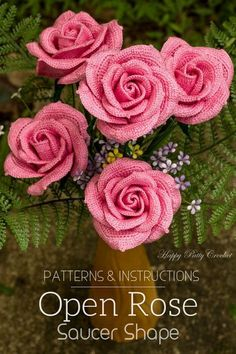 Crochet Rose Pattern for an Open Rose Flower by Happy Patty Crochet Crochet Puff Flower, Crochet Flower Patterns, Love Crochet, Beautiful Crochet, Crochet Flowers, Crochet Bouquet, Crochet Stars, Rose Patterns, Flower Pattern Design