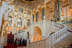 The big staircase in the Hermitage Museum, once the palace of the czar. Saint Petersburg - Russia  More pics of the Hermitage museum here