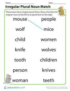 Irregular plural nouns can be tricky, but a little practice can go a long way! Use this worksheet to give your students practice matching nouns to their irregular plural noun form. English Grammar For Kids, English Worksheets For Kids, English Lessons For Kids, English Vocabulary Words, French Lessons, Spanish Lessons, Irregular Plural Nouns Worksheet, Irregular Plurals, Plural Words