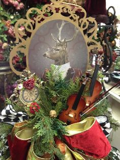 tree topper or table vignette for the holidays Old World Christmas, Christmas Time, Christmas Wreaths, Christmas Decorations, Xmas, Holiday Decor, Holiday Ideas, Hunting Party, Deck The Halls