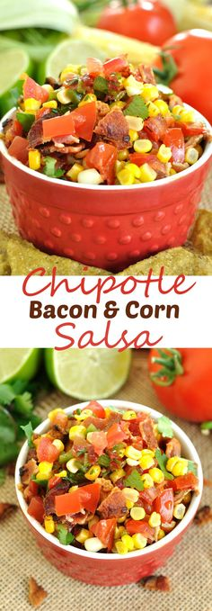 Easy salsa recipe for Cinco de Mayo. Fresh salsa gets a kick with the addition of chipotle peppers and a crunch from crumbled bacon in this chipotle bacon and corn salsa recipe. Corn Salsa Dip, Fruit Salsa, Fruit Dips, Salad Dishes, Mexican Cooking, Great Appetizers, Dip Recipes, Summer Recipes, Cooking Recipes