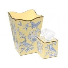 Blue Birds and Flowers on Yellow Wastebasket and Tissue Box Set