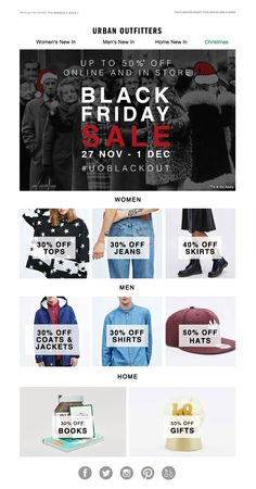 #newsletter #blackfriday Urban Outfitters 11.2014 Up to 50% off in the UO Blackout: Shirts, Skirts, Coats, Jeans.