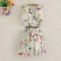 gasa mini vestido de estampado floral de las mujeres - USD $ 14.00