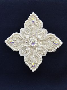 A set of embroidered crosses for the blue episcopal vestments. The Swarovski stones. Pearl. Handmade.