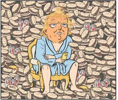 "Cartoonist Matt Bors: ""I was commissioned to create the official presidential portrait of Trump. An honor. Political Art, Political Cartoons, Anti Trump Cartoons, Official Presidential Portraits, Burger Cartoon, News Memes, National Portrait Gallery, Daily Funny, Comic Strips"
