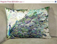 Beautiful paisley peacocks decorative pillow by PrettyPillowsDecor, $18.90