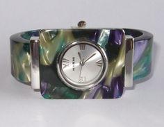 "New Blue/Purple ""Tortoise Shell "" Bangle Cuff Watch  #GenevaNarmi #Fashion"