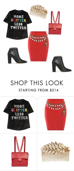 """""""Untitled #606"""" by nikkirozaye on Polyvore featuring Ashish, Moschino, Chanel, Miriam Haskell and Valentino"""