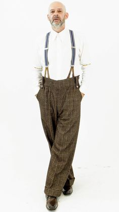 Brown Blue and Mustard Check Oxford Bags Great Gatsby Outfits, Oxford Bags, Harem Pants, Trousers, Lindy Hop, Wedding Men, Mustard, Brown, Check