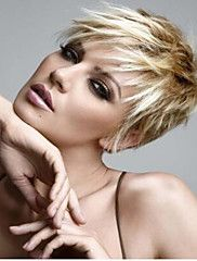 Browse our Synthetic Hair Straight Short Blonde Wig for women. Short wigs above shoulder length to bobs and boys cuts in straight, wavy to curly styles. Short Spiky Hairstyles, Short Hair Wigs, Short Pixie Haircuts, Short Hairstyles For Women, Messy Hairstyles, Hairstyles 2016, Blonde Hairstyles, Summer Hairstyles, Spiky Short Hair